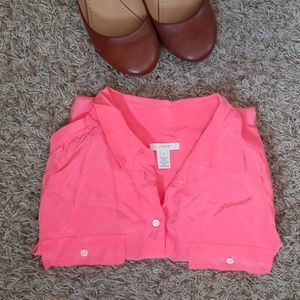 Neon Salmon Pink 100% Silk Shirt